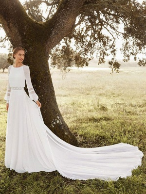 Ivory Simple Wedding Dress With Train Chiffon Jewel Neck Long Sleeves Lace A Line Bridal Gowns_1