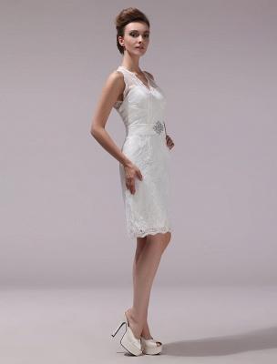 Weißes Etuikleid mit Strass-Knielangem Spitzen-Hochzeitsempfang mit V-Ausschnitt Exklusiv_4