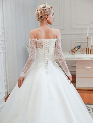 Vintage Brautkleid 2021 Schulterfrei Langarm Prinzessin Satin bodenlangen Brautkleider mit Zug With_6