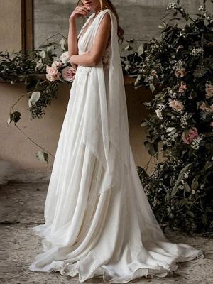 Boho Brautkleider 2021 Chiffon V-Ausschnitt Hohe Taille Römische Drapierung Ärmel Brautkleid_2