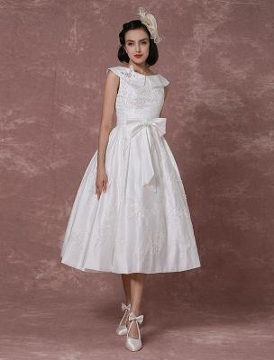 Vintage Wedding Dress Satin Short Bridal Gown Lace Beading Tea Length Reception Bridal Dress Detachable Bow Sash Exclusive_2