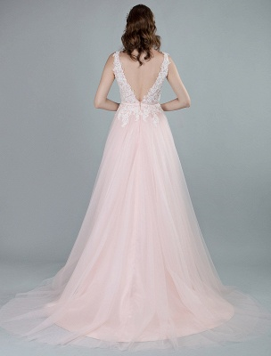 Wedding Dresses A Line Sleeveless Bows V Neck Bridal Dresses With Court Train Exclusive_9