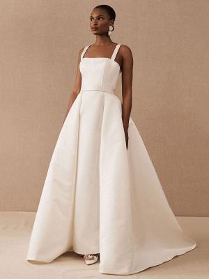 White Vintage Wedding Dresses Strapless Sleeveless Natural Waist Satin Fabric Floor-Length Bridal Gowns_3