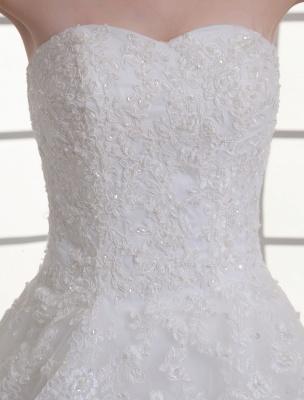 Vestido de novia de red de abalorios sin tirantes con cuello en color marfil_7