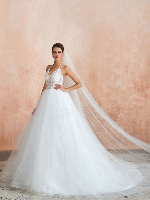 Wedding Dress 2021 Ball Gown Halter Sleeveless Floor Length Lace Tulle Bridal Gowns With Train_9