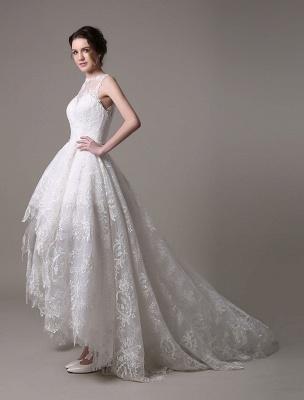 2021 Lace High-Low Brautkleid mit Llusion-Ausschnitt und Rücken exklusiv_5