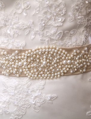 Wedding Dresses Mermaid Strapless Bridal Gown Lace Applique Beading Waist Sweetheart Neck Court Train Wedding Gown_8