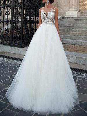 Vestidos de novia 2021 Cuello joya Una línea Longitud del piso Faja moldeada Vestido de desfile de tul Vestidos de novia_1