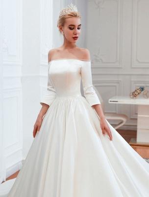 Vintage Brautkleid 2021 Satin 3/4 Ärmel schulterfrei bodenlangen Brautkleider mit Kapelle Zug_4