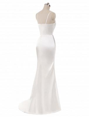 Brautkleider Meerjungfrau Ärmellose Abendkleider V-Ausschnitt Träger Split Elfenbein Brautkleid mit Hofzug Bridal_4