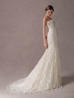 Mermaid Wedding Dresses Lace Strapless Ivory Sweetheart Beaded Bridal Dress With Train Exclusive_6