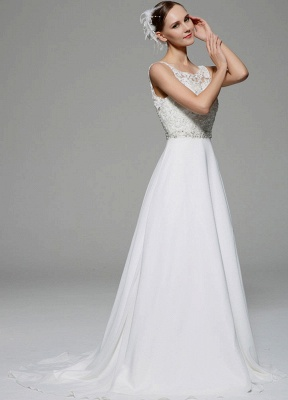 Ivory Wedding Dress Illusion Rhinestone Lace Satin Wedding Gown_4