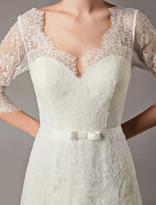 Wedding Dresses A Line Ivory V Neck Lace Tulle Half Sleeve Bridal Dress With Train_8