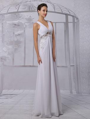 Empire Chiffon V-Ausschnitt Brautkleid mit Illusion Rücken und Blumenapplikation Exklusiv_6