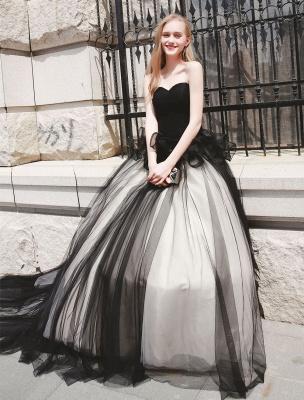 Schwarzes Festzug Partykleid Frauen Trägerlose Tüll Luxus Prinzessin Kleider_4