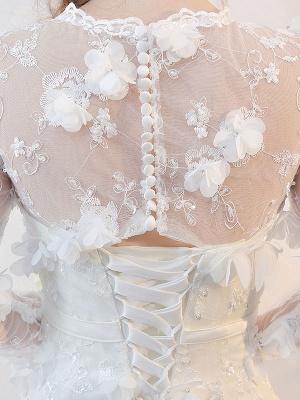 Brautkleider Langarm Meerjungfrau Blumen Applique Bows Elfenbein Brautkleid mit Zug_8