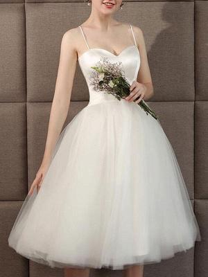 Wedding Dresses Sweetheart Neck Sleeveless A Line Tea Length Short Bridal Dress_4