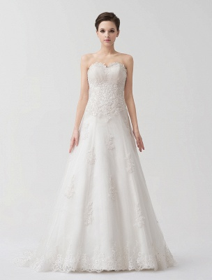 Sweep Ivory Lace Sweetheart A-Line Brides Wedding Dress With Adjustable Strap_5