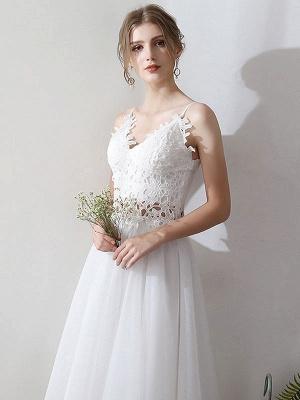 Short Wedding Dresses V Neck Sleeveless A Line Natural Tea Length Waist Organza Bridal Dresses_5