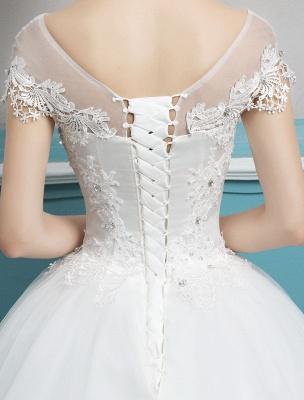 Prinzessin Brautkleider Ballkleider Spitze Perlen Elfenbein bodenlangen Brautkleid_8