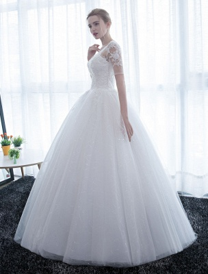 Ivory Wedding Dress Princess Ball Gown Bridal Dress Half Sleeve Lace Applique Pearls Beaded Sweetheart Floor Length Bridal Gown_5