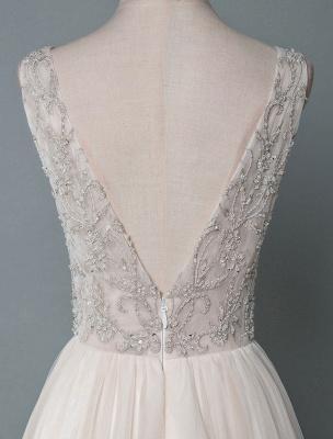 Einfaches Hochzeitskleid A-Linie V-Ausschnitt ärmellose Applikationen Perlen bodenlangen Brautkleider_6