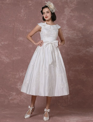 Vintage Brautkleid Satin Kurzes Brautkleid Spitze Perlen Tee Länge Empfang Brautkleid Abnehmbare Schleife Schärpe Exklusiv_4