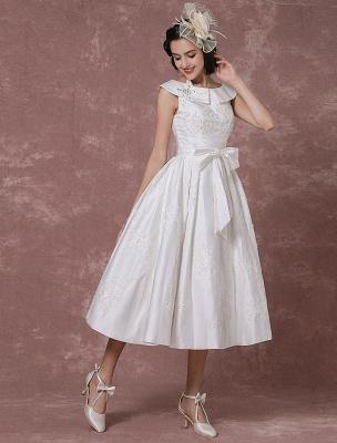 Vintage Wedding Dress Satin Short Bridal Gown Lace Beading Tea Length Reception Bridal Dress Detachable Bow Sash Exclusive_5
