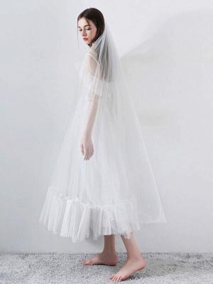 Short Wedding Dress 2021 A Line V Neck Short Sleeves Tea Length Bridal Dresses_4