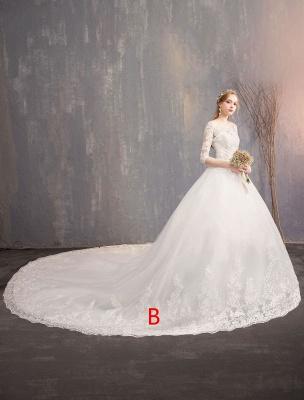 Prinzessin Brautkleider Spitze Illusion Ausschnitt Halbarm Bodenlangen Brautkleid_2