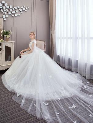 Vestidos de novia de princesa Encaje Watteau Tren Apliques Vestidos de novia de marfil con cuentas_5