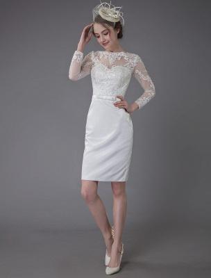 Vintage Brautkleider Jewel Langarm Etui Kurzes Brautkleid Exklusiv_2