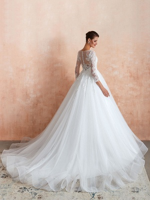 Wedding Gown 2021 3/4 Sleeve Jewel Neck Lace Appliqued Beaded Ball Gown Bridal Wedding Dress With Train_3