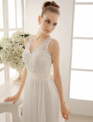 Ivory Wedding Dress Lace Sash Bow Sequins Wedding Gown Exclusive_4