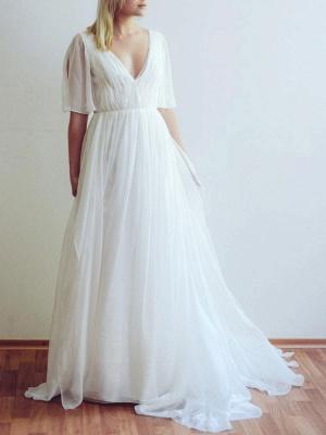 Simple Wedding Dress A Line Chiffon V Neck Half Sleeves Pleated Floor Length With Train Bridal Dresses_1