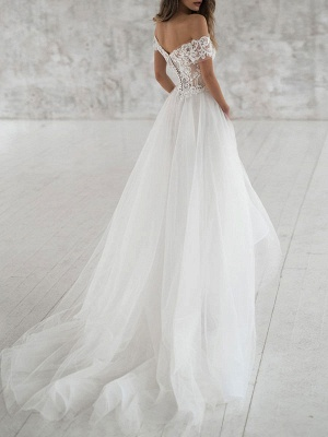 Simple Wedding Dress Tulle Off The Shoulder Short Sleeves Lace A Line Bridal Gowns_2