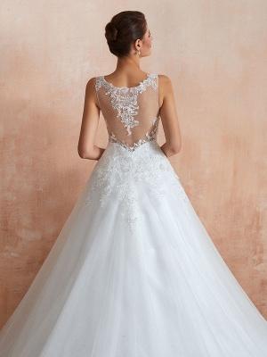 Wedding Dress 2021 V Neck Princess Sleeveless Floor Length Tulle Bridal Gown With Train_7