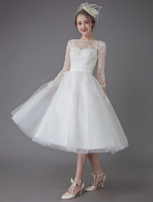 Vintage Wedding Dresses Tulle Bateau 3/4 Length Sleeve A Line Bridal Gown Short Bridal Dress Exclusive_6