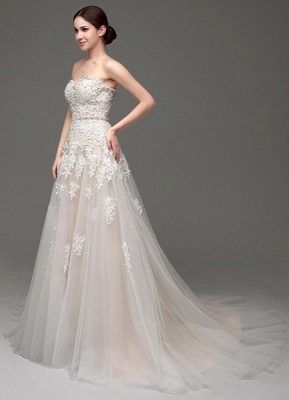 Wedding Dresses Champagne Tulle Strapless Sweatheart Lace Sash Bridal Gown_3