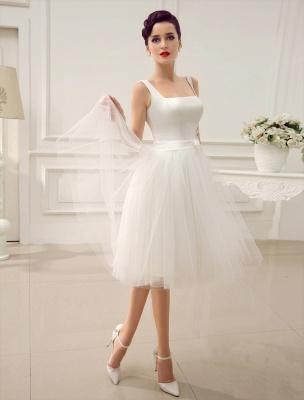 Simple Wedding Dresses Satin Square Neck Applique Short Bridal Dress With Beading Bow Sash Exclusive_3