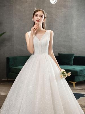 Ivory Wedding Dress Tulle Beaded V Neck Sleeveless Floor Length Princess Bridal Gown_5