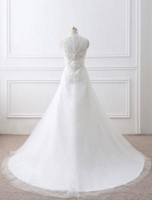 Weißes Hochzeitskleid Queen Anne Brautkleid mit Schärpe und Spitze_8