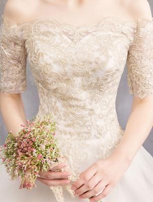 Tulle Wedding Dress Off The Shoulder Half Sleeve Princess Bridal Gown_17