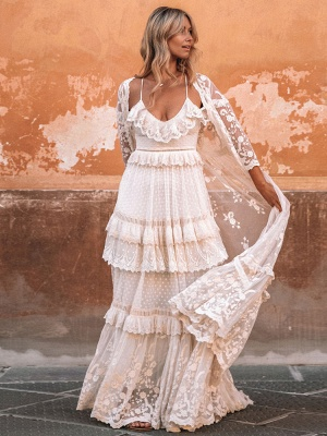 Boho Wedding Dress Suit 2021 V Neck Floor Length Lace Multilayer Bridal Gown Dress And Outfit_2