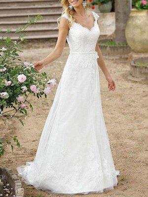 Einfache Hochzeitskleid A-Linie V-Ausschnitt Ärmellose Schärpe Bodenlangen Brautkleider Mit Zug_1