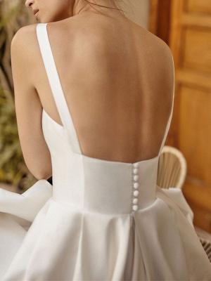 Vintage Brautkleider Square Neck Sleeveless Natural Waist Satin Stoff Gericht Zug Schärpe Brautkleid_5