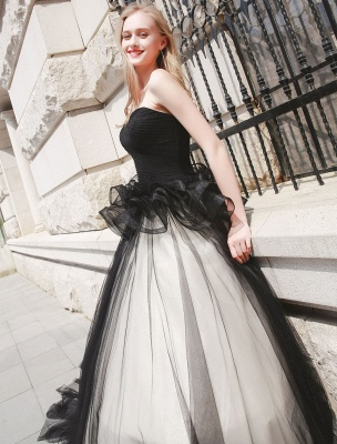 Schwarzes Festzug Partykleid Frauen Trägerlose Tüll Luxus Prinzessin Kleider_6