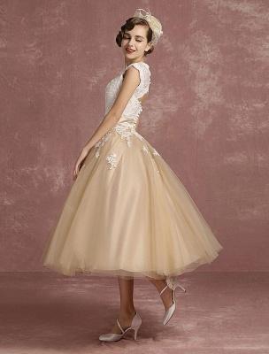 Vestido de novia de la vendimia Vestido de novia corto con apliques de encaje de champán Vestido de novia con cuello de la reina Ana Vestido de novia de la longitud del té_4