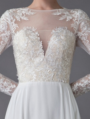 Boho Brautkleider Chiffon Jewel Langarm Plissee A-Linie Strand Brautkleider Exklusiv_10