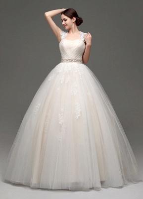 Tulle Cap Sleeves Keyhole Back Princess Wedding Dress With Bow And Rhinestone Sash_5